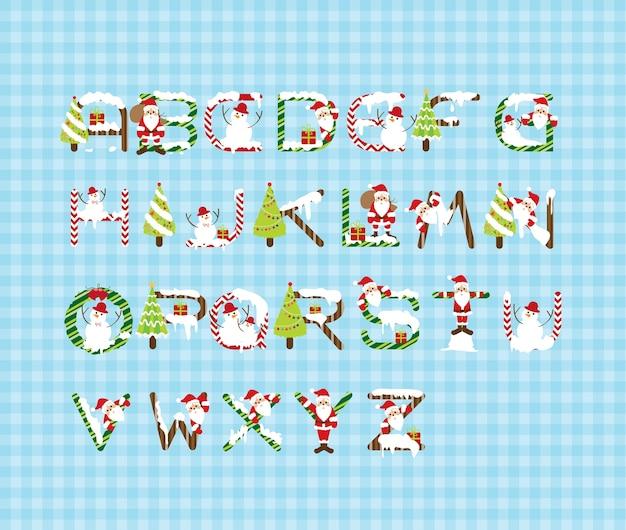 Weihnachtsschrift-entwurfs-vektor. abc-alphabet, brief.