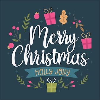Weihnachtsschriftzug mit geschenk