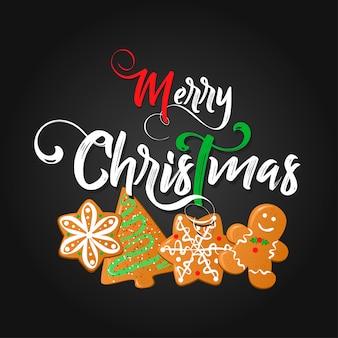 Weihnachtsschriftzug mit keksen.