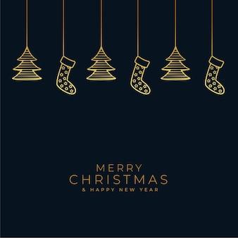 Weihnachtsschwarz- und goldhintergrund mit hängender dekoration Kostenlosen Vektoren