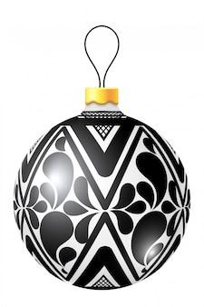 Weihnachtsschwarzweiss-ball auf weißem hintergrund