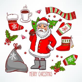 Weihnachtsset mit feiertagsattributen und lächelndem weihnachtsmann. handgezeichnete illustration