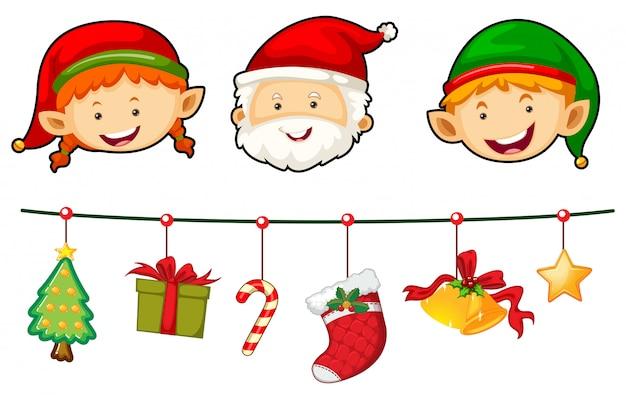 Weihnachtsset mit santa und elf