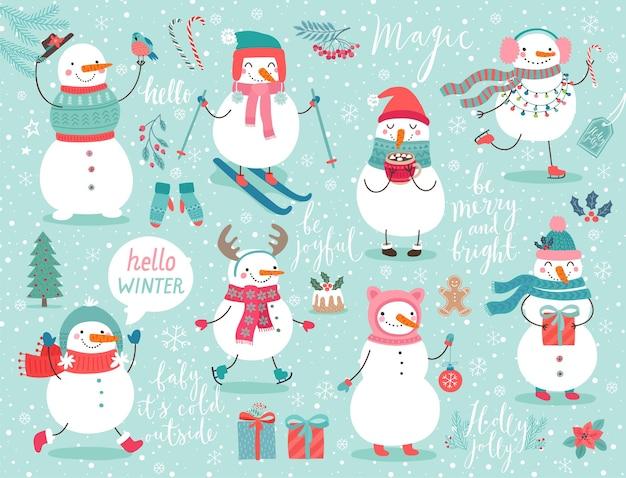 Weihnachtsset mit süßen schneemännern und anderen elementen