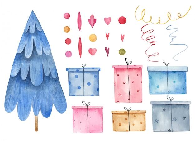 Weihnachtsset mit weihnachtsbäumen und geschenken, girlande, serpentin, weihnachtsdekoration, feiertagsaquarellillustration auf einem weißen hintergrund