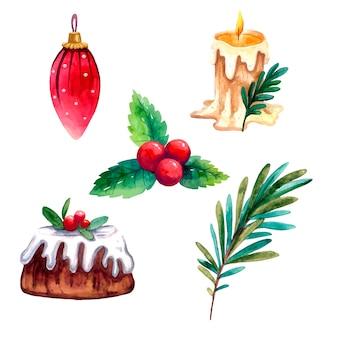 Weihnachtsset mit weihnachtsbaumzweig, spielzeug, kerzen, stechpalme, weihnachtskuchen