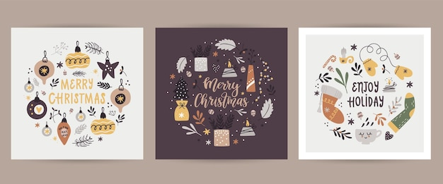 Weihnachtsset mit weihnachtskarten mit weihnachtsillustrationen.