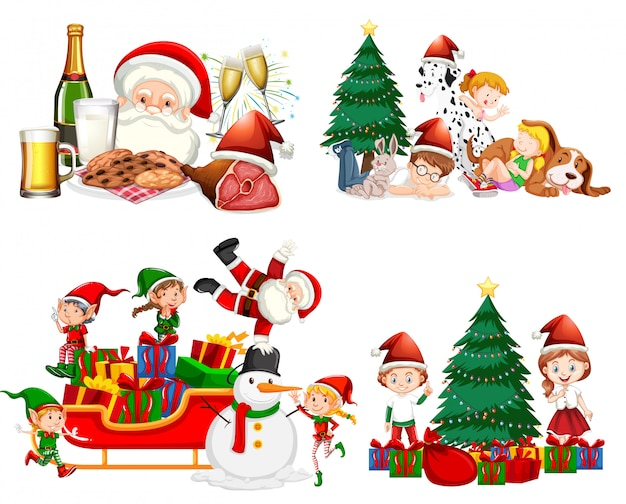 Weihnachtsset mit weihnachtsmann und kindern