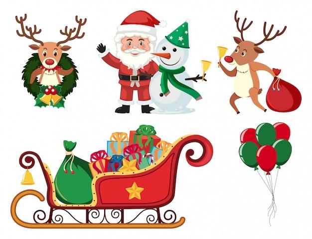Weihnachtsset mit weihnachtsmann und rentier