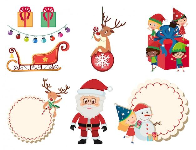 Weihnachtsset mit weihnachtsmann und schlitten