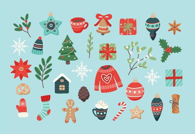 Weihnachtsset, süße saisonale elemente