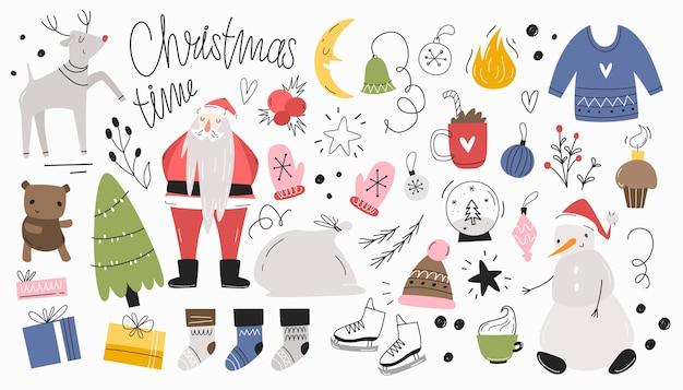 Weihnachtsset von isolaten in einem handgezeichneten stil. modern, schriftzug.