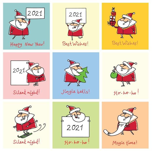 Weihnachtsset von verschiedenen weihnachtsmännern mit weihnachtssymbol des jahres schwein, geschenke, weihnachtsbaum, fahnen und andere ich karikaturstil