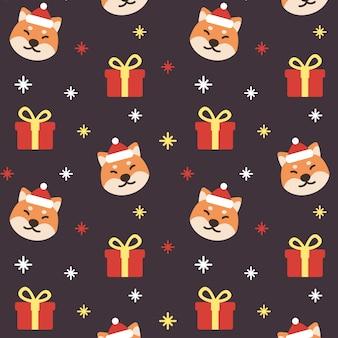 Weihnachtsshiba inu hund nahtloser muster-hintergrund