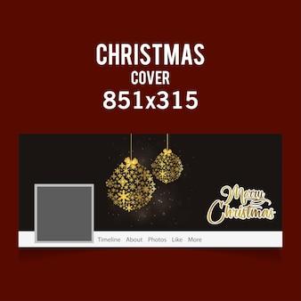 Weihnachtssocial-media-abdeckungsikone mit weihnachtsschnee blättert bälle ab