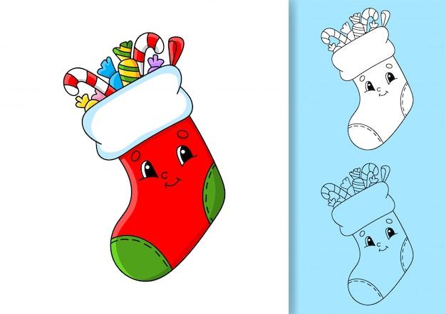 Weihnachtssocke mit geschenken und süßigkeiten.