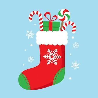Weihnachtssocke mit süßigkeiten und geschenken. vektorzeichner