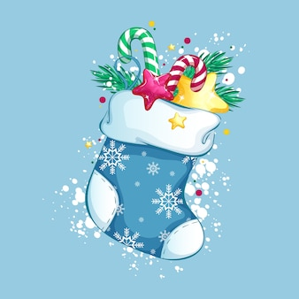 Weihnachtssocke mit zuckerstangen, goldstern, ast und anderen geschenken. traditionelle weihnachtsdekoration.