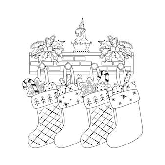 Weihnachtssocken mit geschenken und süßigkeiten. malbuch.