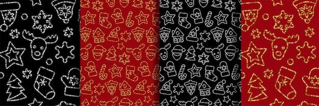 Weihnachtsspielzeug aus nahtlosen mustern mit umrisspailletten
