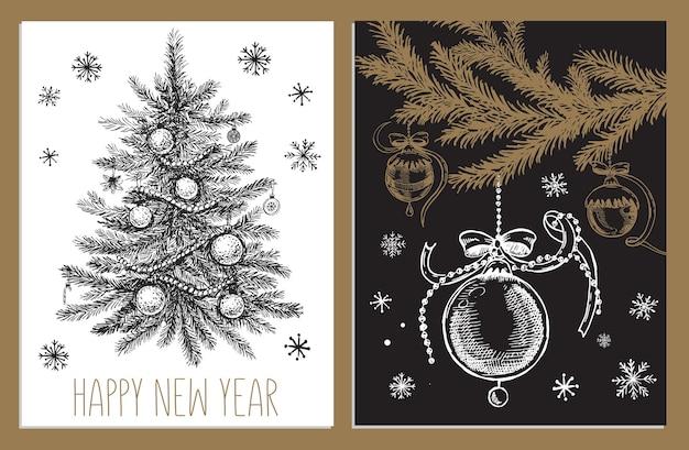 Weihnachtsspielzeug furtree hand gezeichnete illustration