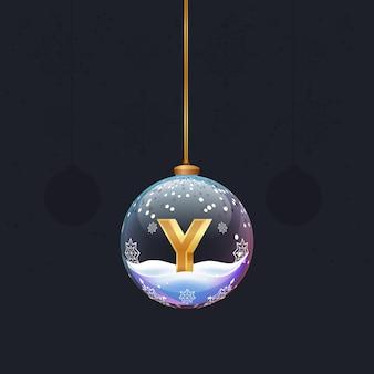 Weihnachtsspielzeug-glaskugel mit einem goldenen 3d-buchstaben im neujahrsbaumdekor designelement