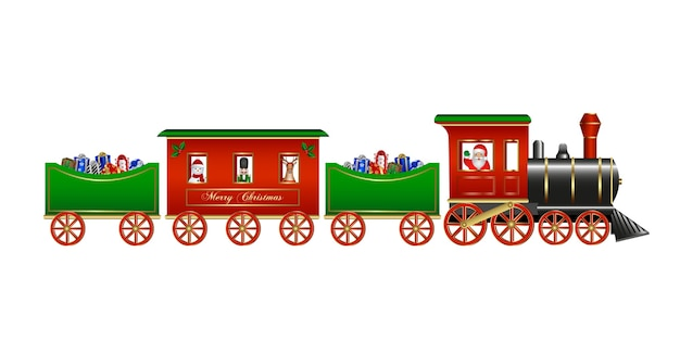 Weihnachtsspielzeug isolierter zug mit weihnachtsmann-geschenkboxen und weihnachtsfiguren