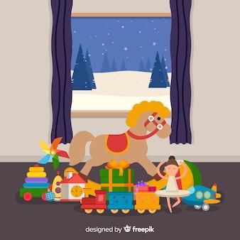 Weihnachtsspielzeug unter dem fenster