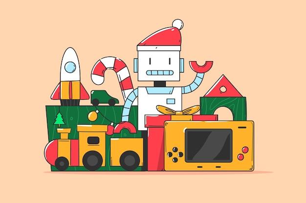 Weihnachtsspielzeughintergrund im flachen design