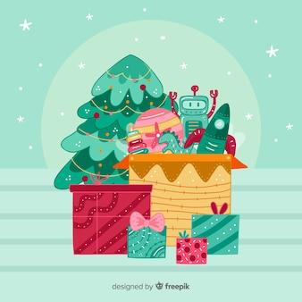 Weihnachtsspielzeugkastenhintergrund