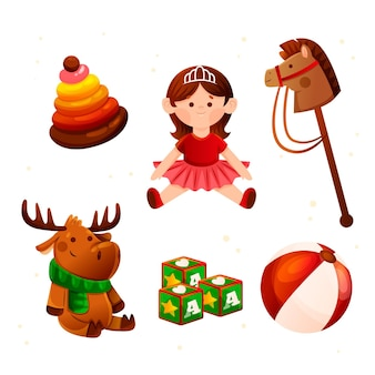 Weihnachtsspielzeugkollektion im flachen design