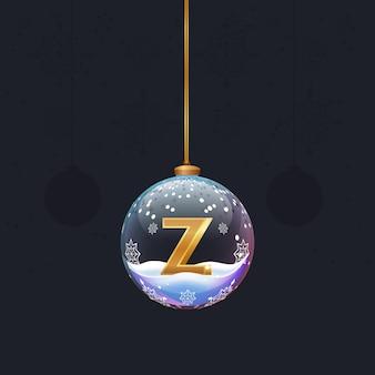 Weihnachtsspielzeugkugel mit einem goldenen 3d-buchstaben z im inneren neujahrsbaumdekoration designelement