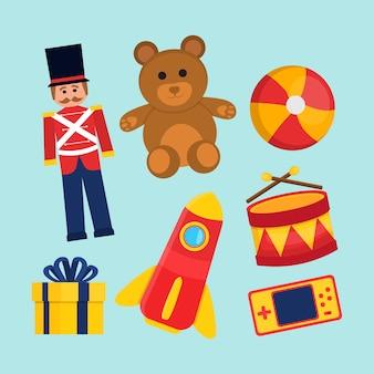 Weihnachtsspielzeugsammlung mit bären und soldaten