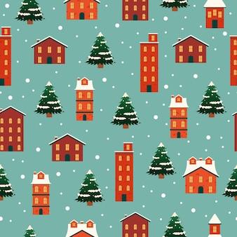 Weihnachtsstadt, die nahtloses muster errichtet