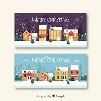 Weihnachtsstadt-fahnensammlung im flachen design
