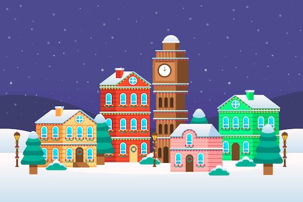 Weihnachtsstadt im flachen design