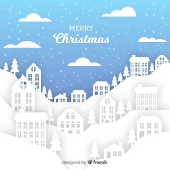 Weihnachtsstadt im papierstil