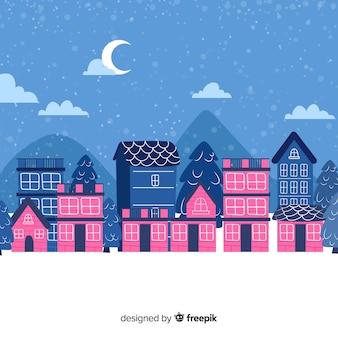 Weihnachtsstadt in der hand gezeichnet