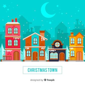 Weihnachtsstadt in flacher art