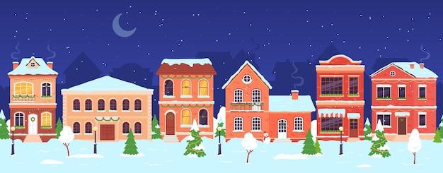 Weihnachtsstadt. nachtwinter-märchenlandstraße mit häusern, die für feiertage und neues jahr verziert werden. schneedorflandschaftsvektorszene. illustrationsstraßenstadtlandschaft, architekturdorffassade