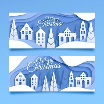Weihnachtsstadtbanner im papierstil gesetzt