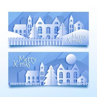 Weihnachtsstadtbanner im papierstil