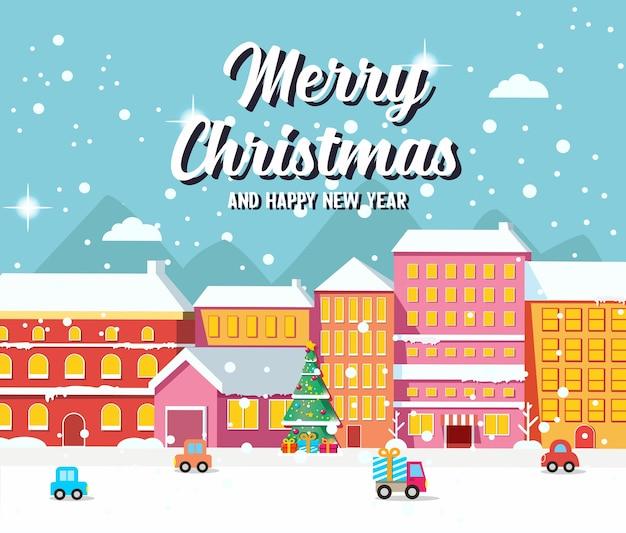 Weihnachtsstadtbild mit häusern, auto und geschmückter tanne