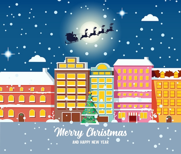 Weihnachtsstadtbild mit häusern, weihnachtsmann und geschmückter tanne bei nacht