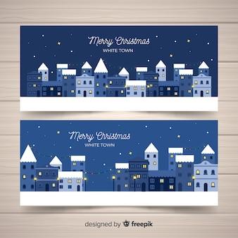 Weihnachtsstadtfahnen im flachen design