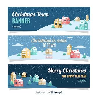 Weihnachtsstadtfahnen in der flachen art