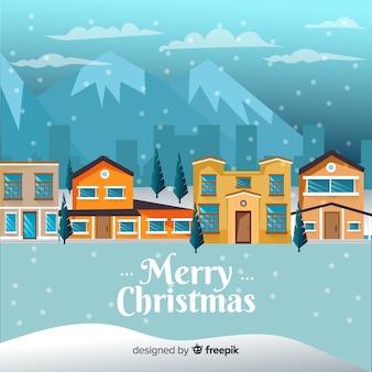 Weihnachtsstadthintergrund in der flachen art