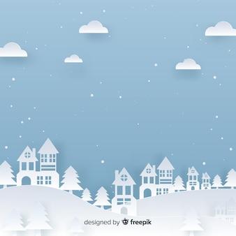 Weihnachtsstadthintergrund papercut-effekt