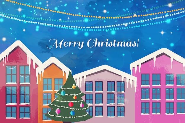 Weihnachtsstadtkonzept im aquarell