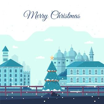 Weihnachtsstadtkonzept im flachen design